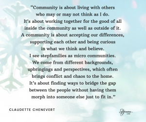A Community is about...